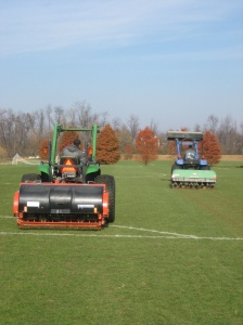 Deep tine and core aeration in conjunction w/ one another on heavy compacted clay