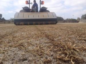 Soil wave de-compaction following Universe fraze mow on bermudgrass