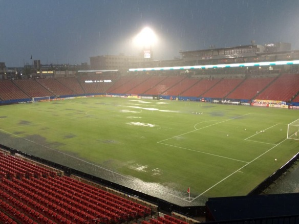 "1.5"" of rain in 2 hours prior to match at Toyota Stadium in Frisco, TX"