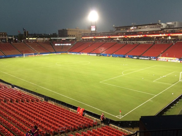 "15 mins later: 1.5"" drained through prior to match at Toyota Stadium in Frisco, TX (Photos courtesy of Mr. Allen Reed, Head Sports Field Manager)"