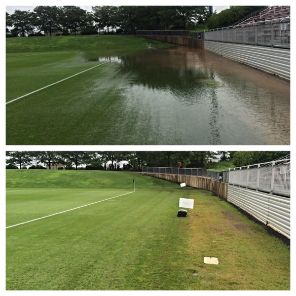 "1.75"" in 45 mins soaks through field in 20 mins on SoccerPlex Stadium (Photo courtesy of Mr. Ryan Bjorn, Head Sports Field Manager)"
