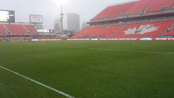 BMO Field in the rain Saturday (Photo courtesy of Mr. Robert Heggie, Head Sports Field Manager)